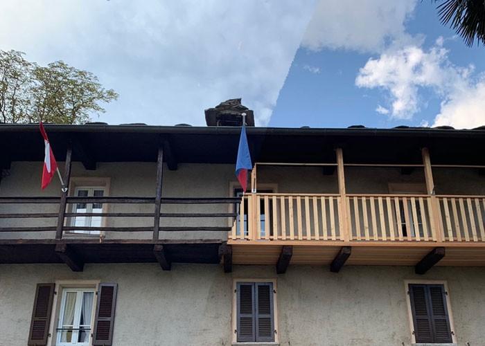 Balcone in legno di larice